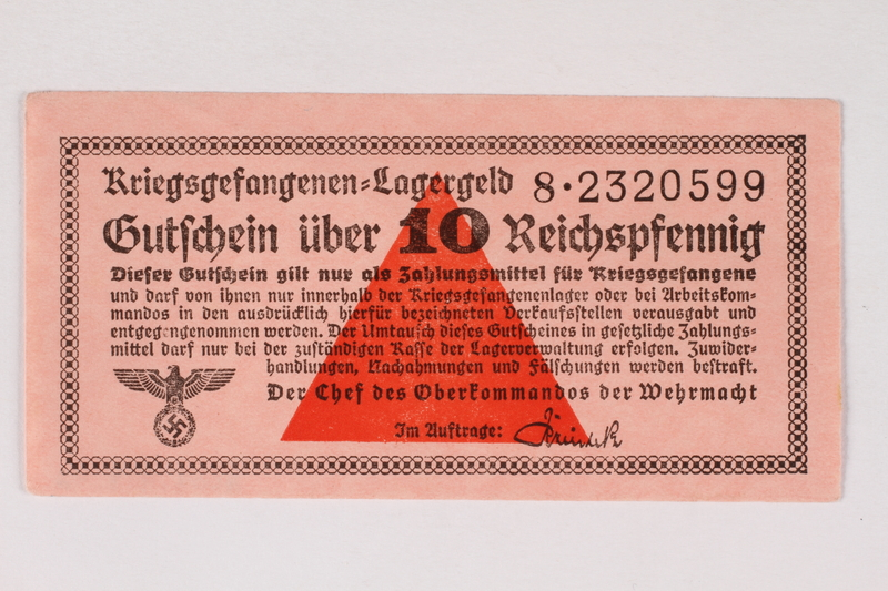2003.413.42 front German Prisoner of War Camp general issue currency, kriegsgefangenen lagergeld, 10 Reichspfennig