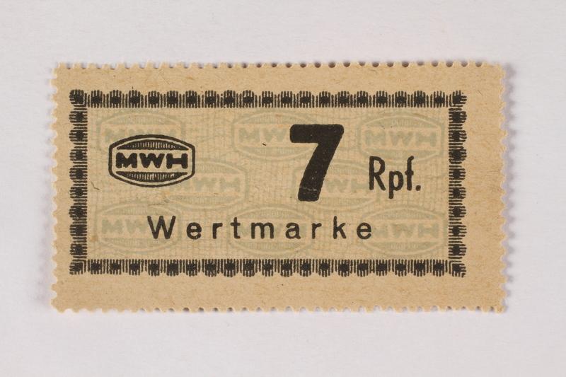 2003.413.53 front Holleischen subcamp scrip, 7 Reichspfennig note