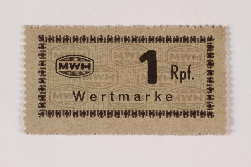 2003.413.55 front Holleischen subcamp scrip, 1 Reichspfennig note
