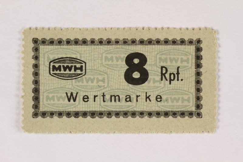 2003.413.56 front Holleischen subcamp scrip, 8 Reichspfennig note