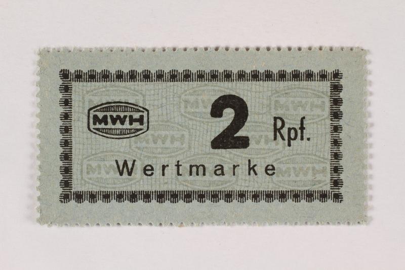 2003.413.58 front Holleischen subcamp scrip, 2 Reichspfennig note