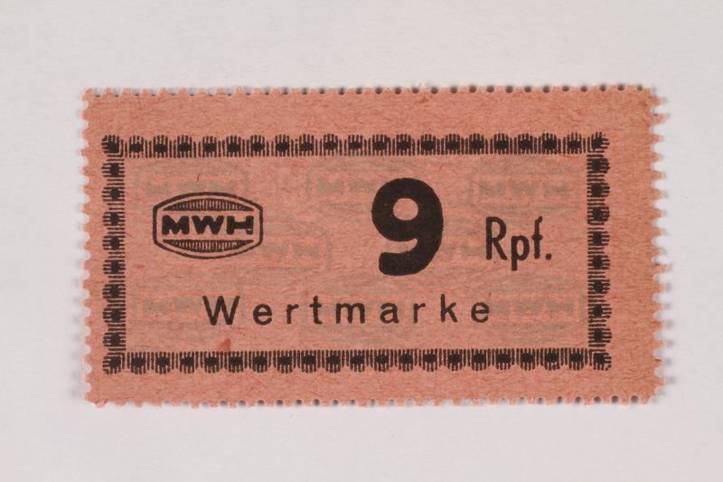 2003.413.59 front Holleischen subcamp scrip, 9 Reichspfennig note