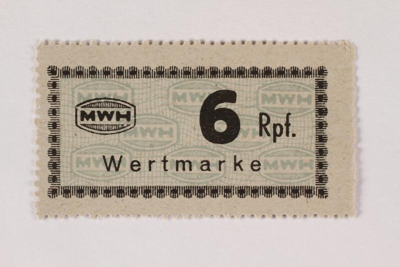 2003.413.60 front Holleischen subcamp scrip, 6 Reichspfennig note