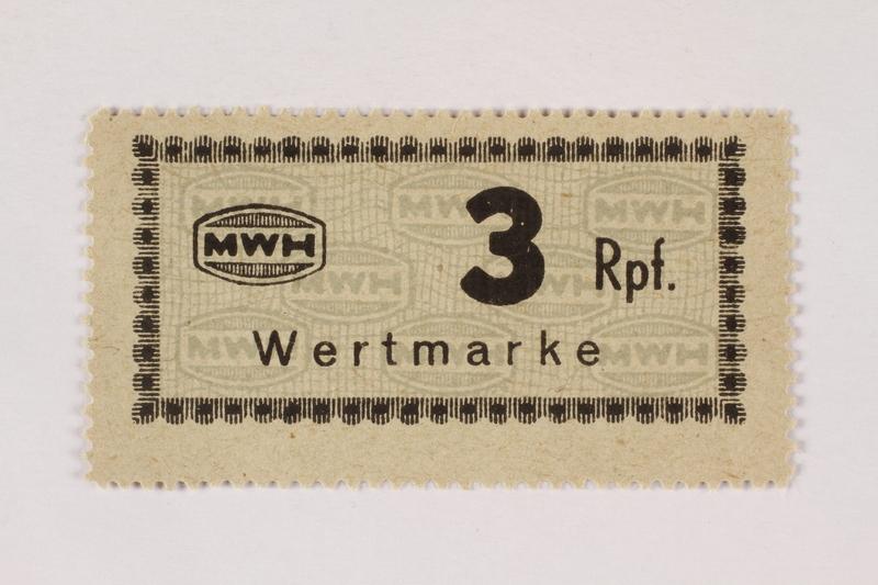 2003.413.61 front Holleischen subcamp scrip, 3 Reichspfennig note