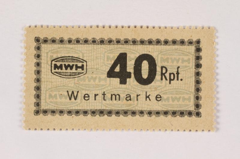 2003.413.62 front Holleischen subcamp scrip, 40 Reichspfennig note