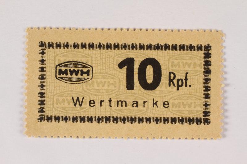 2003.413.63 front Holleischen subcamp scrip, 10 Reichspfennig note