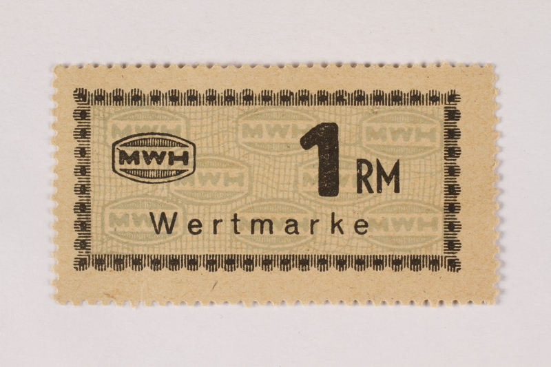 2003.413.64 front Holleischen subcamp scrip, 1 Reichsmark note