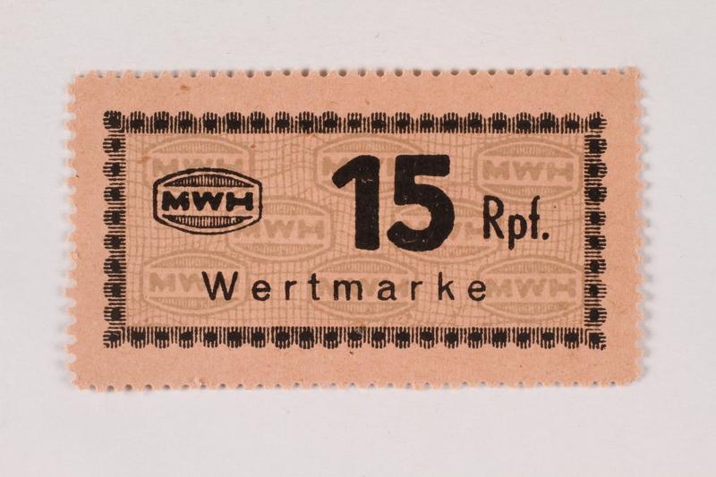 2003.413.66 front Holleischen subcamp scrip, 15 Reichspfennig note