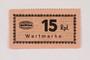 Holleischen subcamp scrip, 15 Reichspfennig note