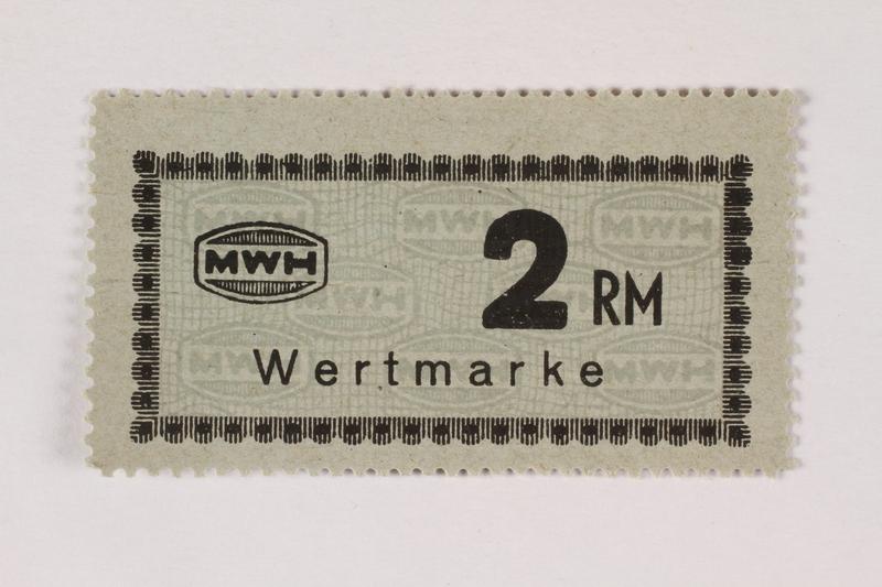 2003.413.67 front Holleischen subcamp scrip, 2 Reichsmark note