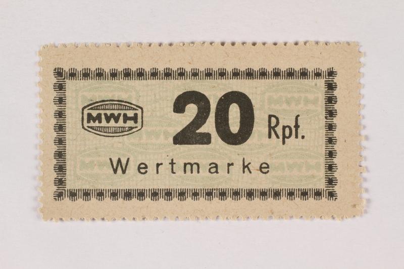 2003.413.68 front Holleischen subcamp scrip, 20 Reichspfennig note