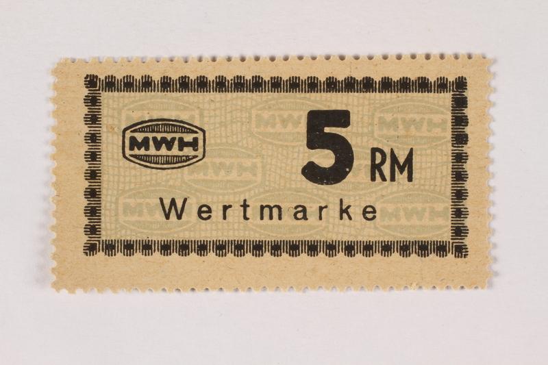 2003.413.69 front Holleischen subcamp scrip, 5 Reichsmark note