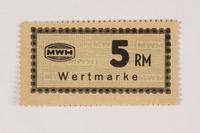 2003.413.69 front Holleischen subcamp scrip, 5 Reichsmark note  Click to enlarge