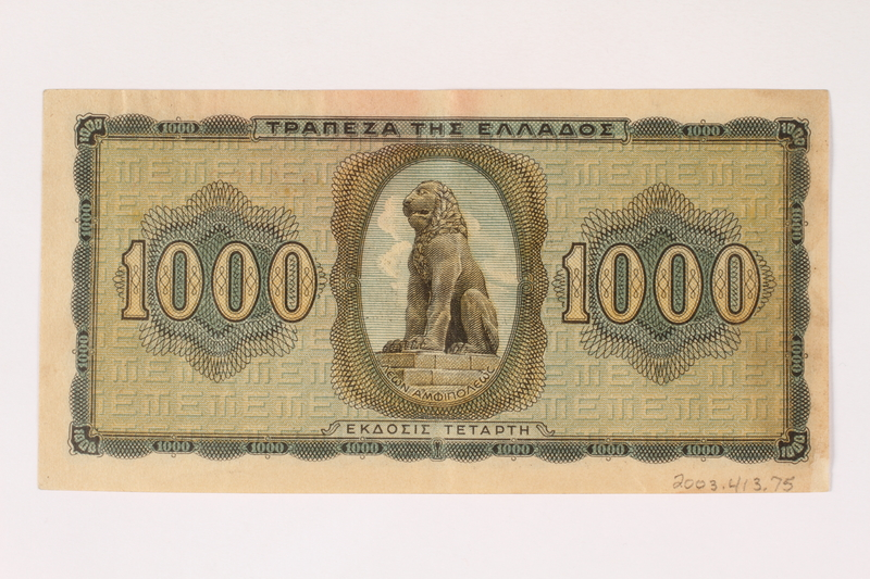 2003.413.75 back German issued Greek currency, 1,000 Drachmai note