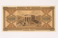 2003.413.79 back German issued Greek currency, 10,000 Drachmai note  Click to enlarge