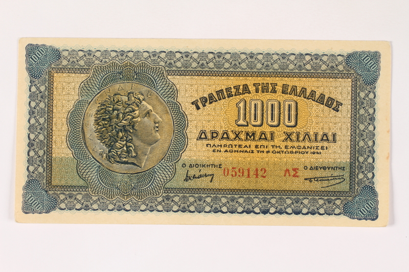2003.413.80 front German issued Greek currency, 1,000 Drachmai note