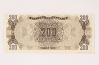 2003.413.85 back German issued Greek currency, 200 million Drachmai note  Click to enlarge