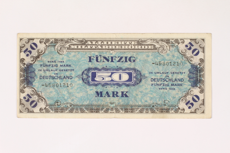 2003.413.90 front Allied Military currency for Germany, 50 mark note
