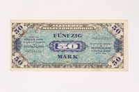2003.413.90 front Allied Military currency for Germany, 50 mark note  Click to enlarge