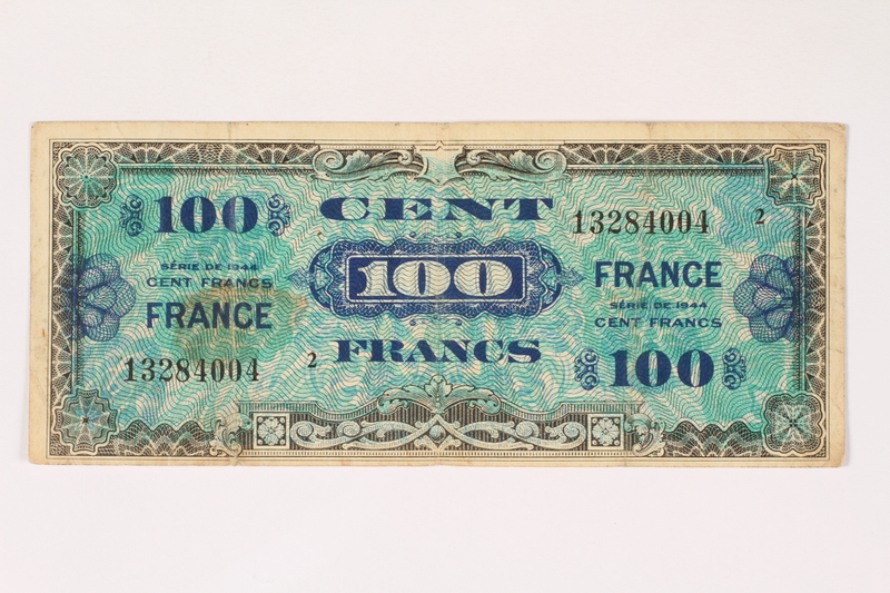 2003.413.92 front Allied Military currency for France, 100 franc note