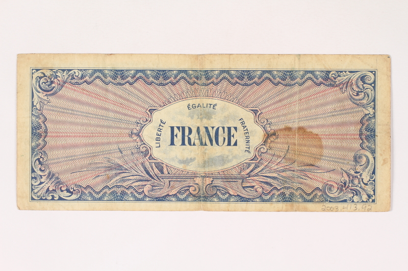 2003.413.92 back Allied Military currency for France, 100 franc note