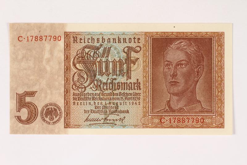 2003.413.93 front German Reichsbank, 5 Reichsmark note