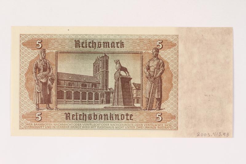 2003.413.93 back German Reichsbank, 5 Reichsmark note