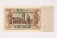 2003.413.93 back German Reichsbank, 5 Reichsmark note  Click to enlarge