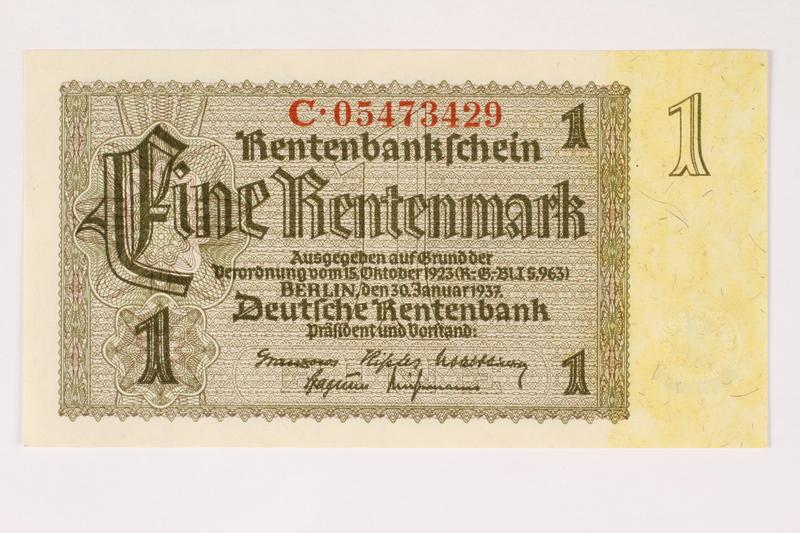 2003.413.94 front German Rentenbank, 1 Rentenmark note