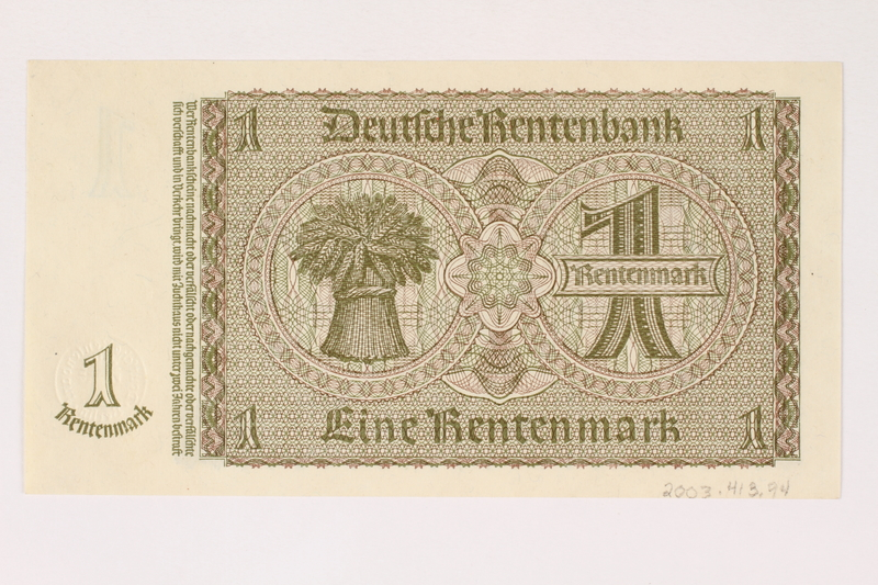 2003.413.94 back German Rentenbank, 1 Rentenmark note