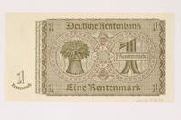 2003.413.94 back German Rentenbank, 1 Rentenmark note  Click to enlarge