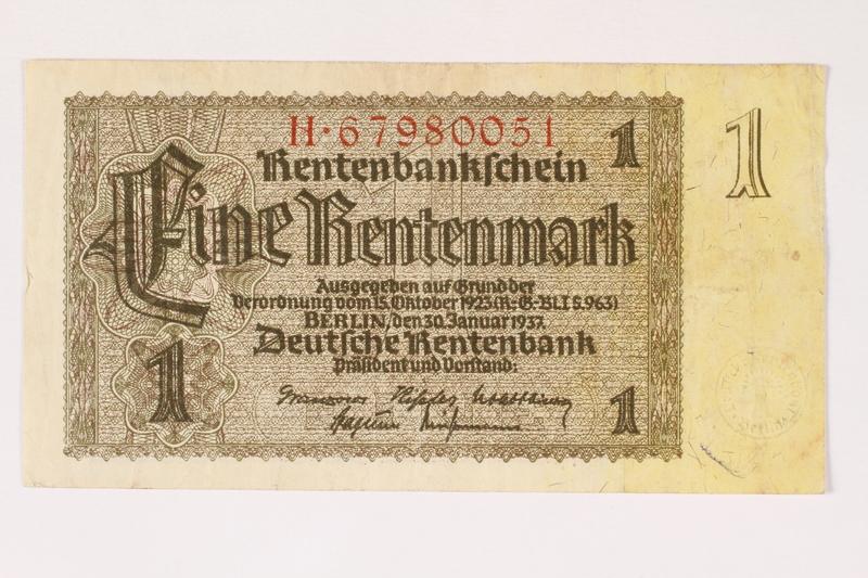 2003.413.95 front German Rentenbank, 1 Rentenmark note