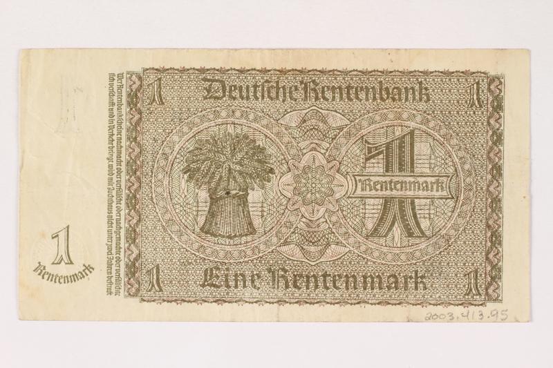 2003.413.95 back German Rentenbank, 1 Rentenmark note
