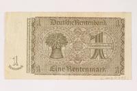 2003.413.95 back German Rentenbank, 1 Rentenmark note  Click to enlarge