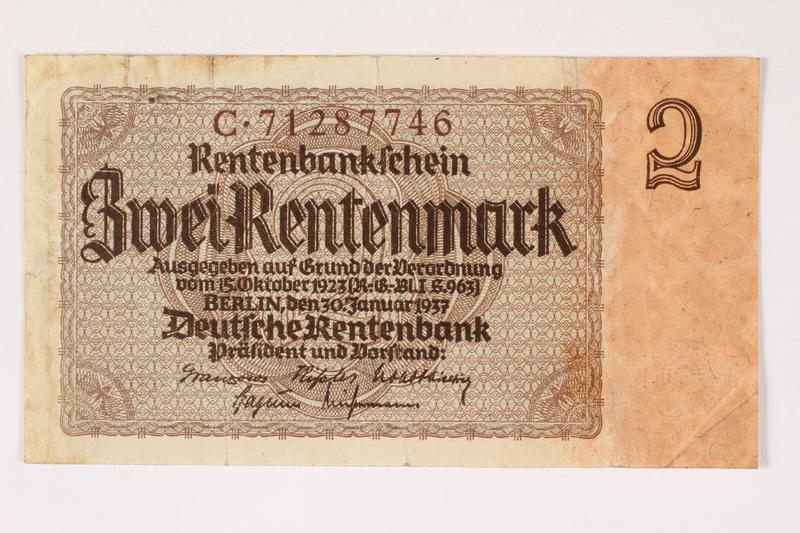2003.413.96 front German Rentenbank, 2 Rentenmark note