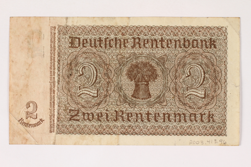 2003.413.96 back German Rentenbank, 2 Rentenmark note