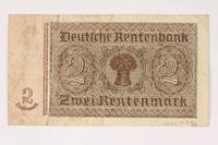 2003.413.96 back German Rentenbank, 2 Rentenmark note  Click to enlarge