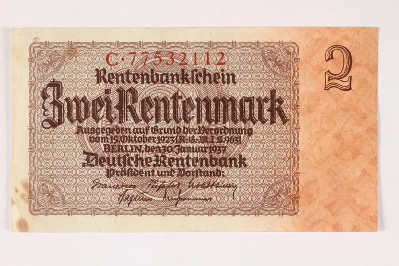 2003.413.97 front German Rentenbank, 2 Rentenmark note