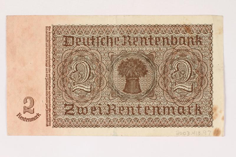 2003.413.97 back German Rentenbank, 2 Rentenmark note