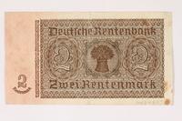 2003.413.97 back German Rentenbank, 2 Rentenmark note  Click to enlarge