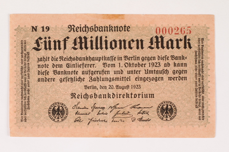 2003.413.98 front Weimar Germany Reichsbanknote, 5 million mark