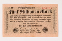 2003.413.98 front Weimar Germany Reichsbanknote, 5 million mark  Click to enlarge