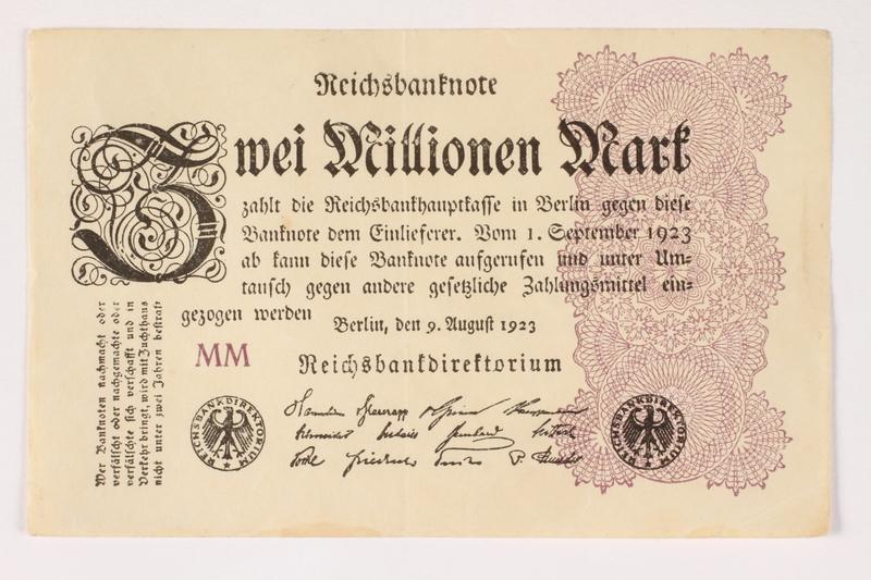 2003.413.99 front Weimar Germany Reichsbanknote, 2 million mark