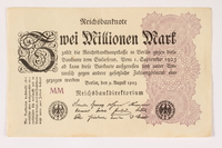 2003.413.99 front Weimar Germany Reichsbanknote, 2 million mark  Click to enlarge