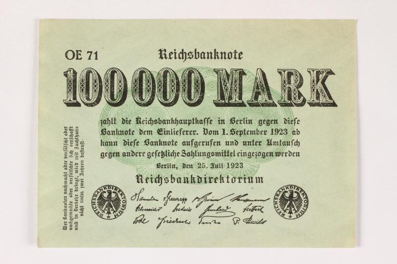 2003.413.100 front Weimar Germany Reichsbanknote, 100,000 mark