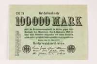 2003.413.100 front Weimar Germany Reichsbanknote, 100,000 mark  Click to enlarge
