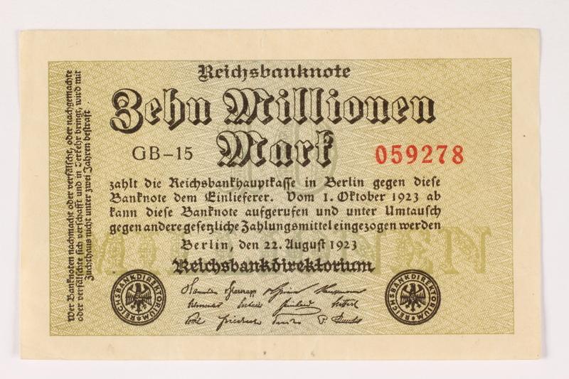 2003.413.101 front Weimar Germany Reichsbanknote, ten million mark