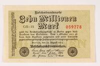 2003.413.101 front Weimar Germany Reichsbanknote, ten million mark  Click to enlarge