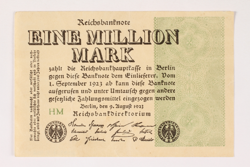 2003.413.102 front Weimar Germany Reichsbanknote, 1 million mark