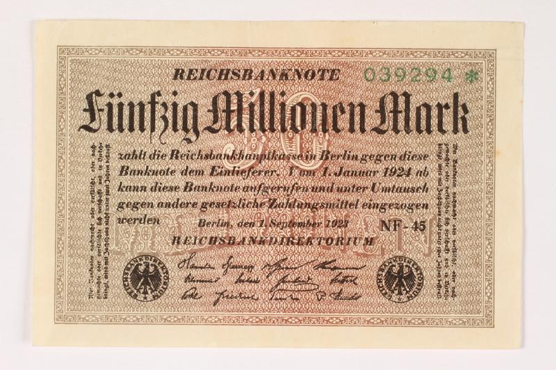 2003.413.103 front Weimar Germany Reichsbanknote, 50 million mark